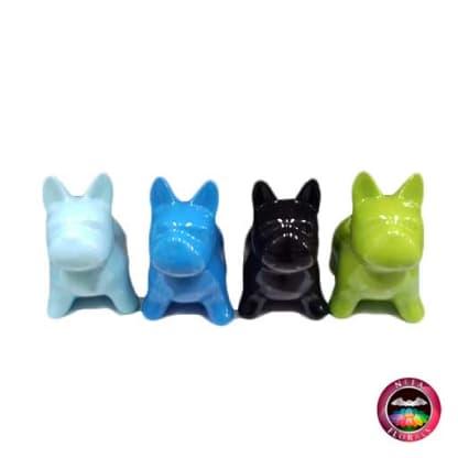 Matera cerámica animales perro 13x7x13cm perros azul claro, azul oscuro, negro y verde