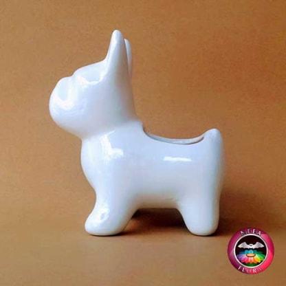 Matera cerámica animales perro 13x7x13cm perro blanco lateral