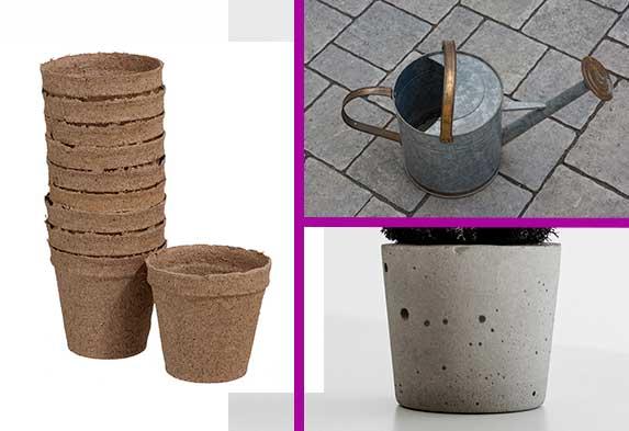 Tipos de macetas para tus plantas: (izquierda) materas biodegradables ecológicas; (arriba derecha) maceta de metal; (abajo derecha) matera de cemento.