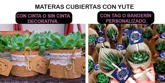 Recordatorios con materas cubiertas con yute. Recordatorios Bogotá Neea Flora