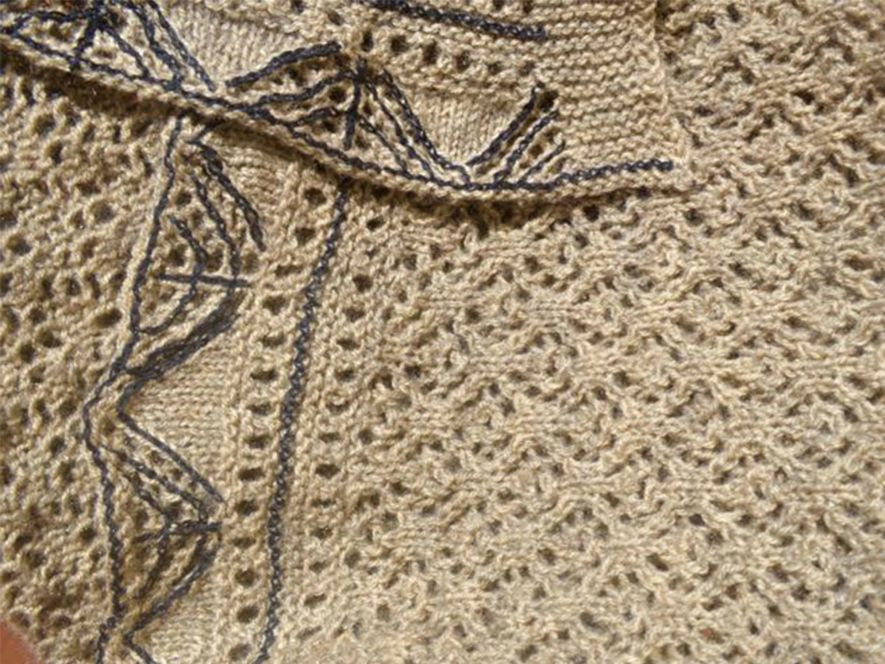 Baby Blanket, light brown lace