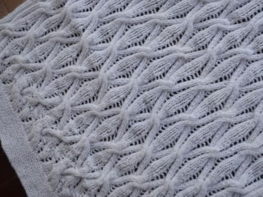 Baby Blanket..Cables of Love…Pristine White