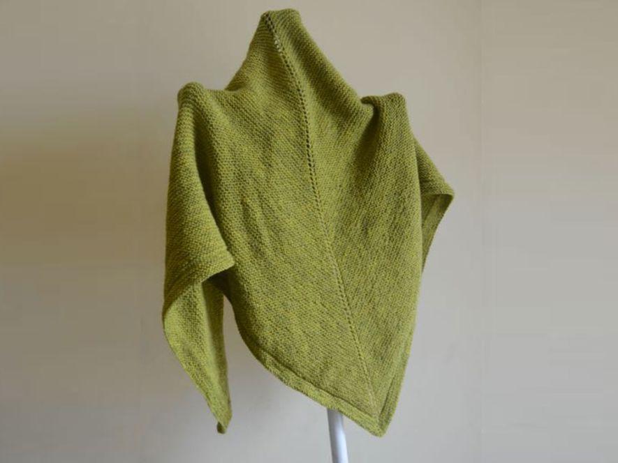 Triangular Shawl, Soft Green, in Garter Stitch