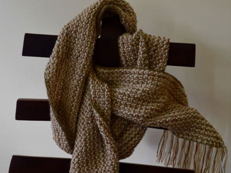 Cowl Light Brown and White
