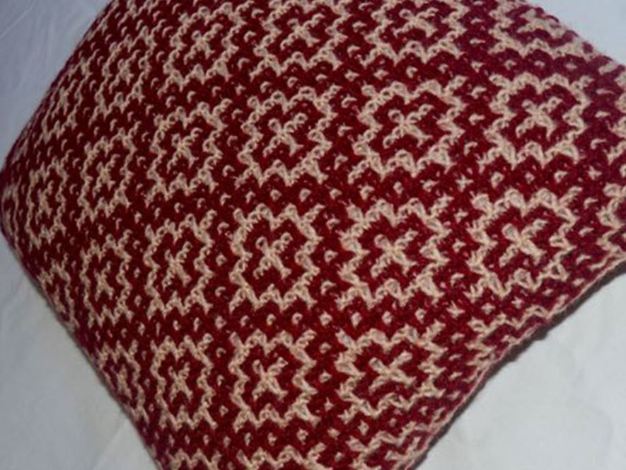 Cushion Cover..Mosaic Tiles in Maroon/Cream