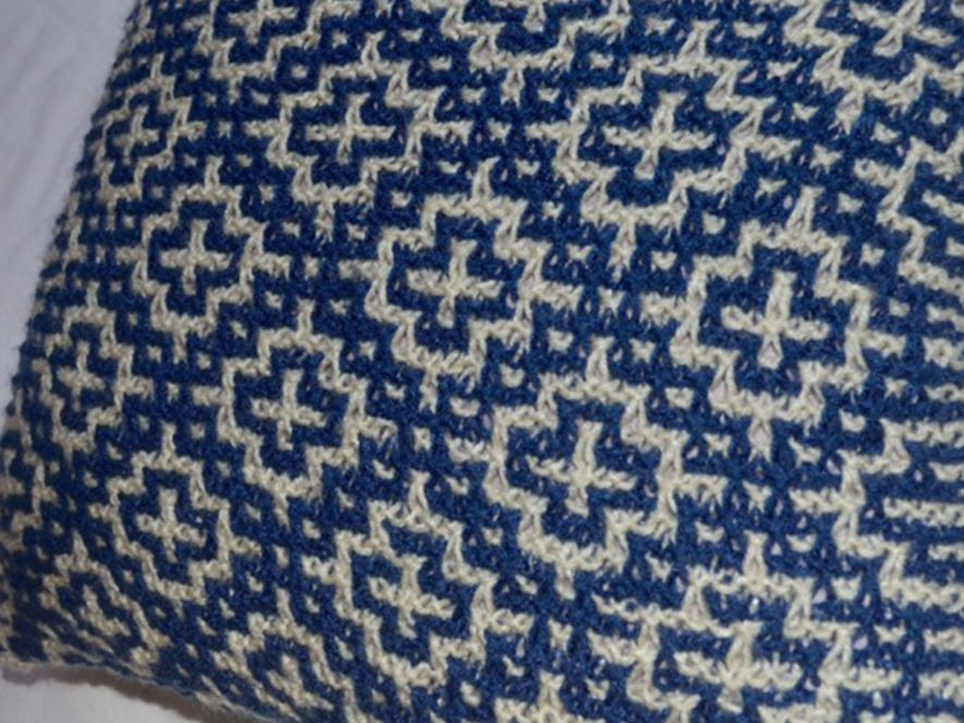 Cushion Cover..Mosaic Tiles in Indigo/Cream