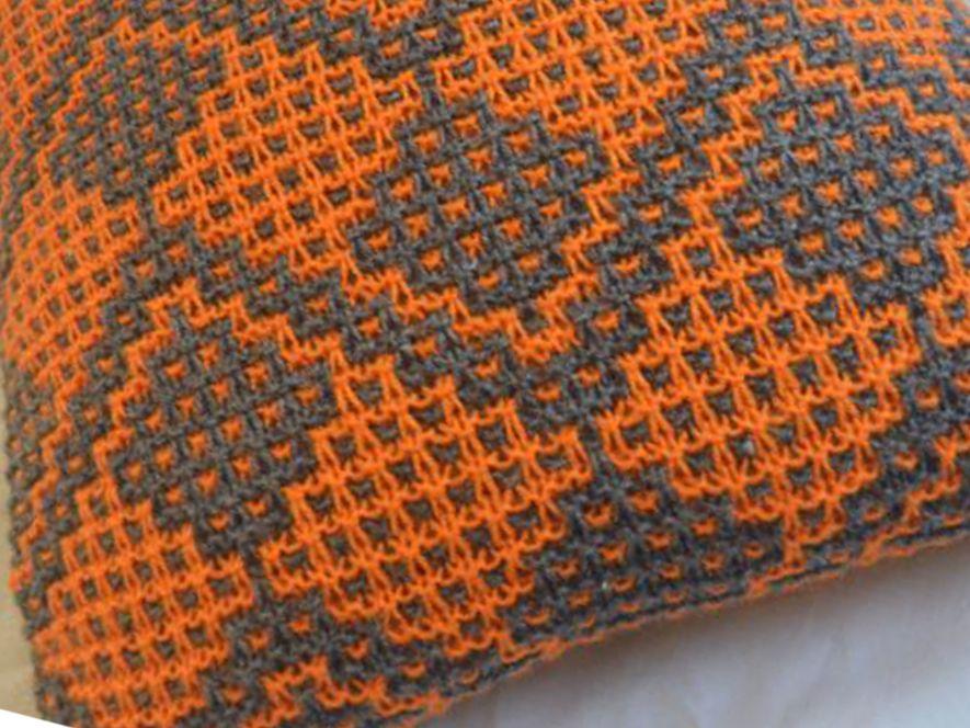 Cushion cover…Fruit Trees in Grey/Orange