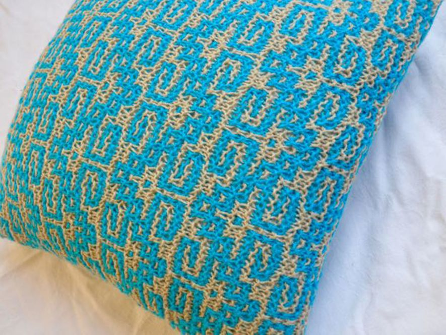 Cushion Cover…Keys to Solace in Bright Blue/Cream