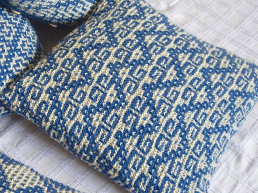 Cushion Cover…Keys to Solace in Indigo/Cream