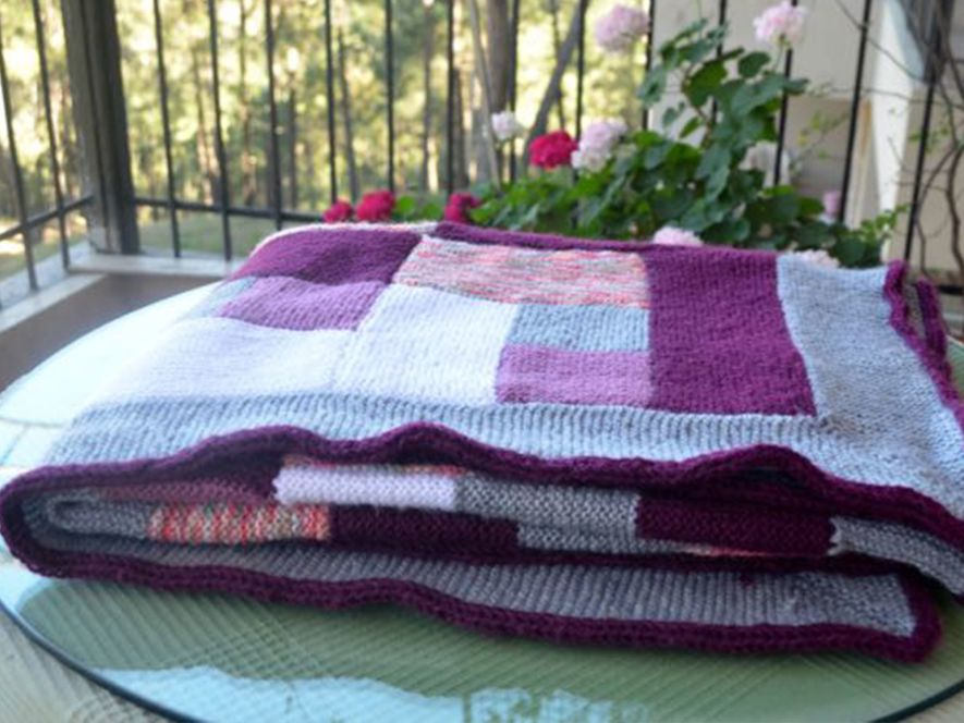 Throw or Quilt, Purple multicoloured with Log Cabin Motif