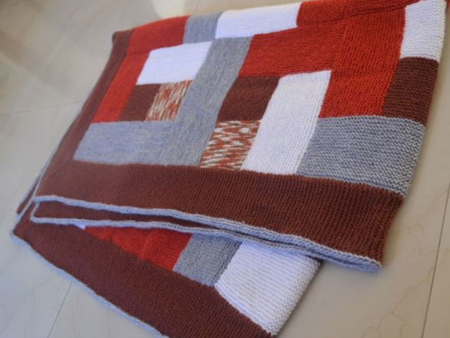 Throw or Quilt, Grey, Rust and Orange with Log Cabin Motif