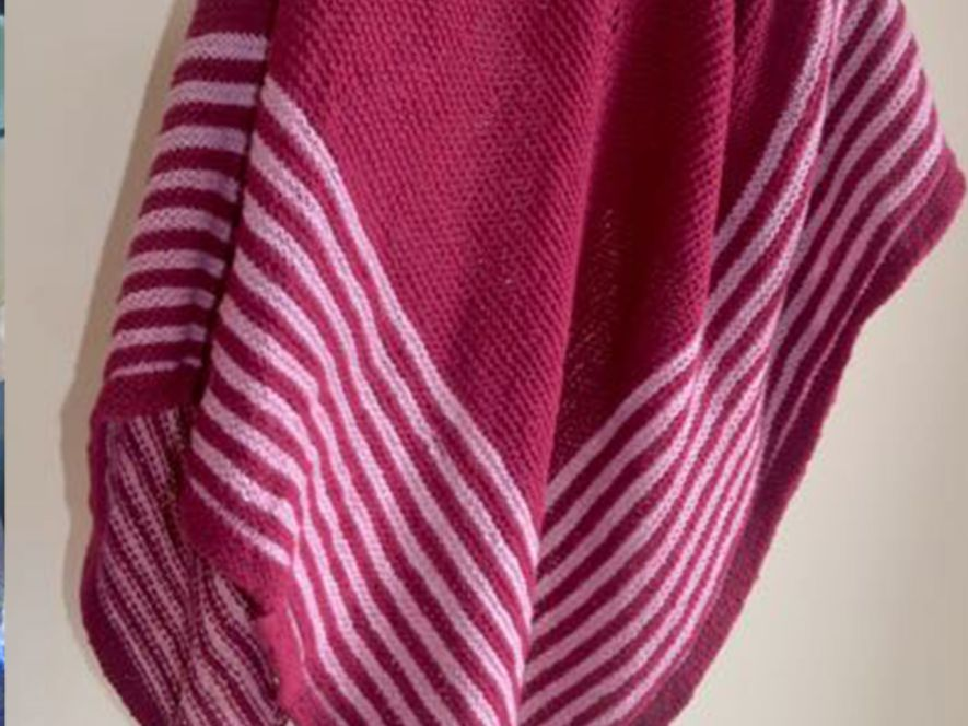 Triangular Shawl…Contours–Candy stripes