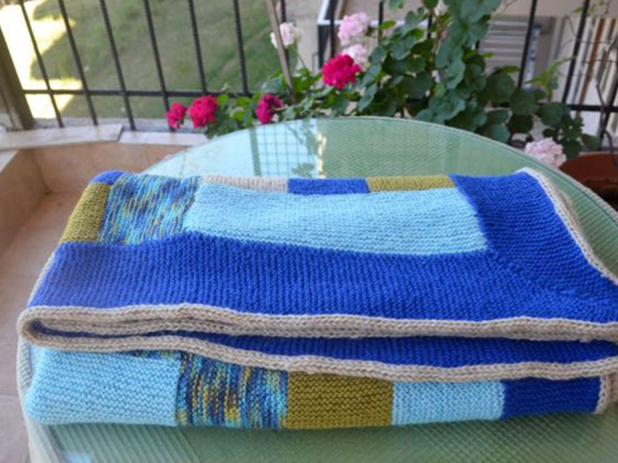 Throw or Quilt , Brilliant Blues with Log Cabin Motif
