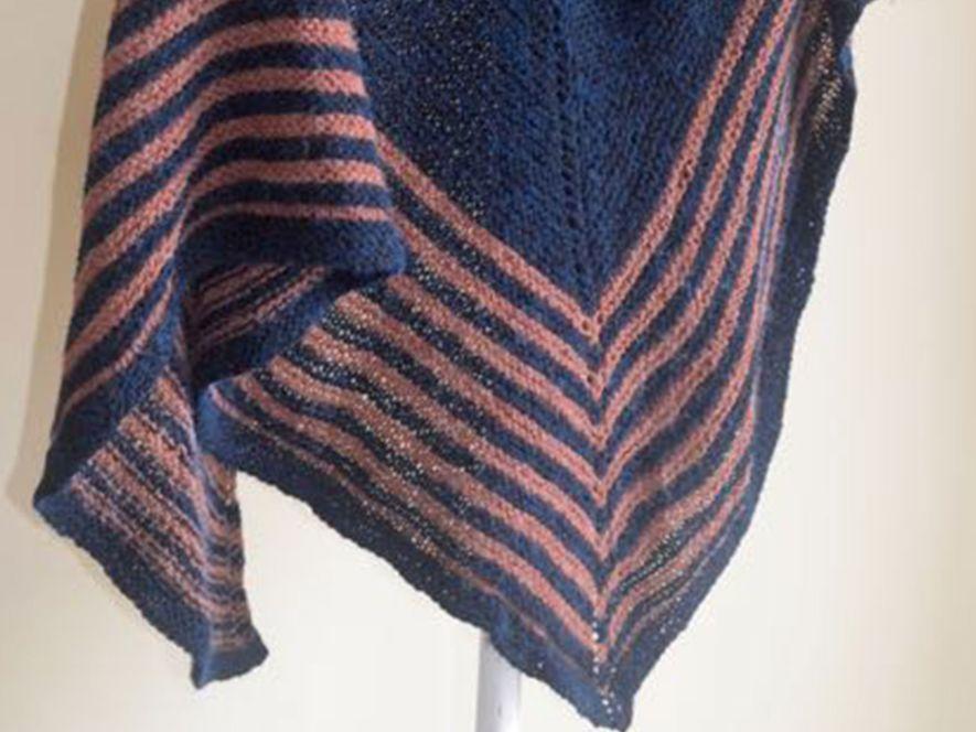Triangular Shawl, Dark Blue with Brown Stripes
