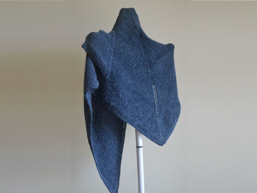 Triangular Shawl..Classic Charm in Midnight Blue