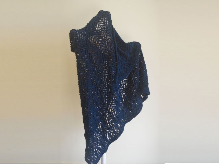 Triangular shawl..Lace Shadows in Midnight Blue