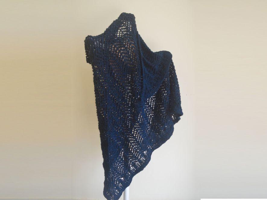 Triangular shawl..Lace Shadows in Midnight Blue