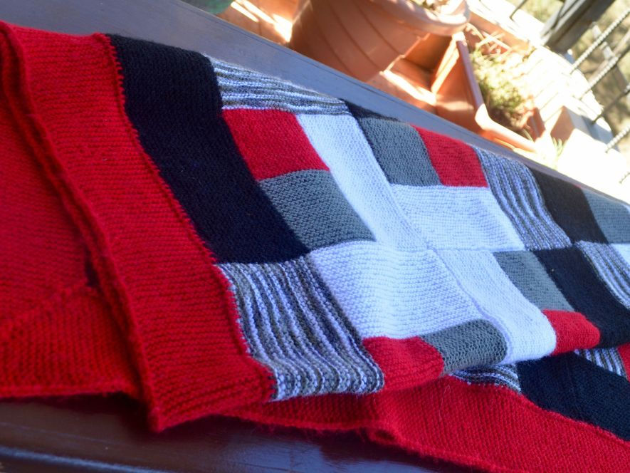 Throw or Quilt , Orange,Black and Grey Blue with Log Cabin Motif
