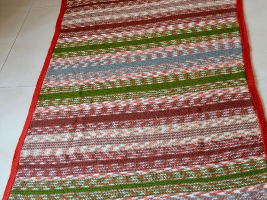 Throw or Quilt, Rust and Green Shades Stripes
