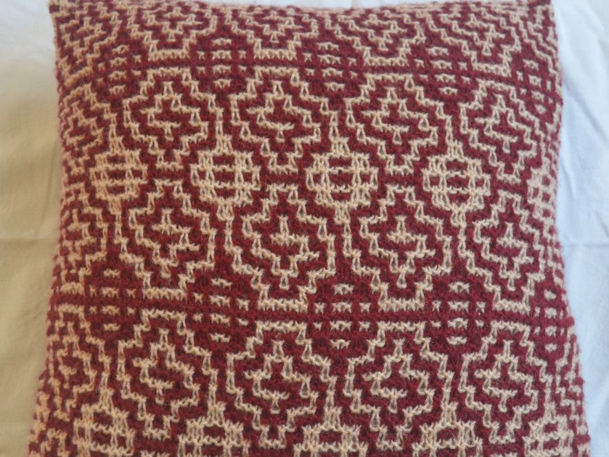 Cushion Cover..Windows in Maroon/Cream
