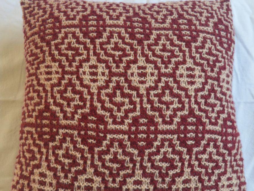 Cushion Cover..Windows in Maroon/Cream