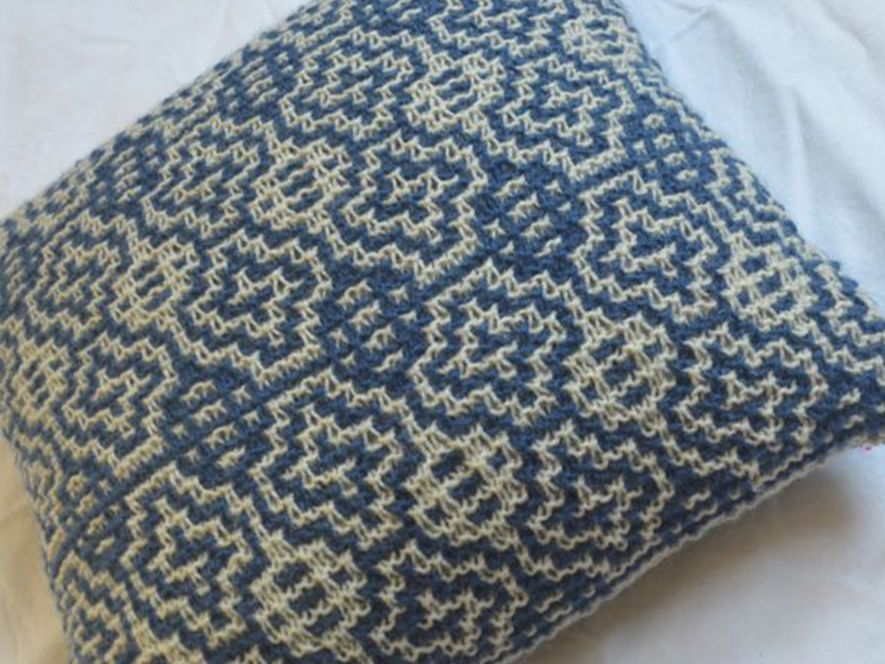 Cushion Cover..Windows in Indigo/Cream
