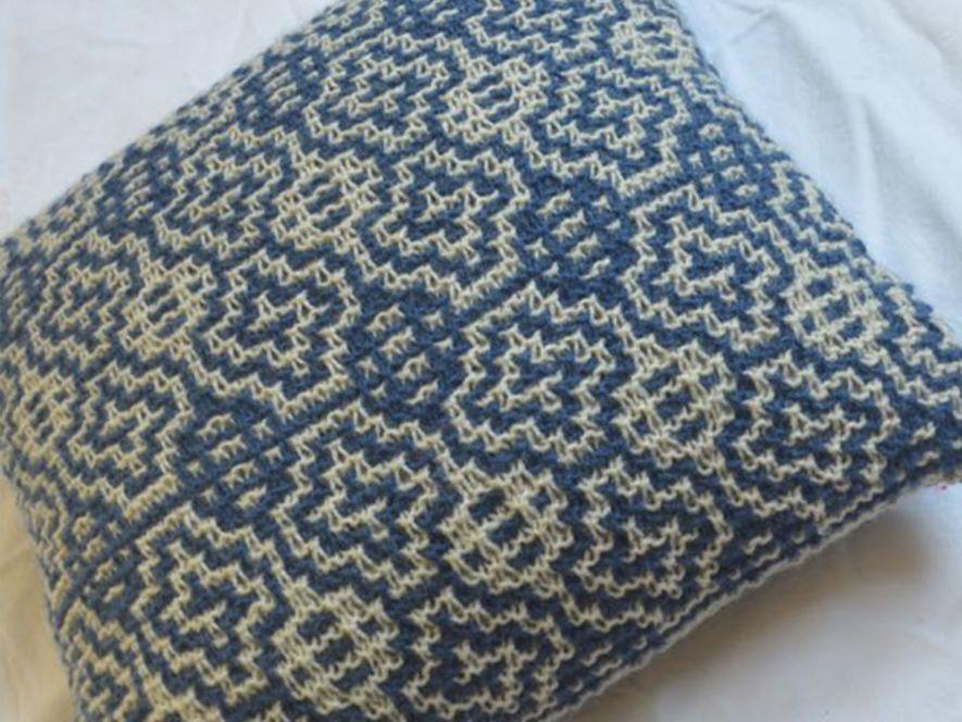 Cushion Cover..Windows in Indigo/Cream
