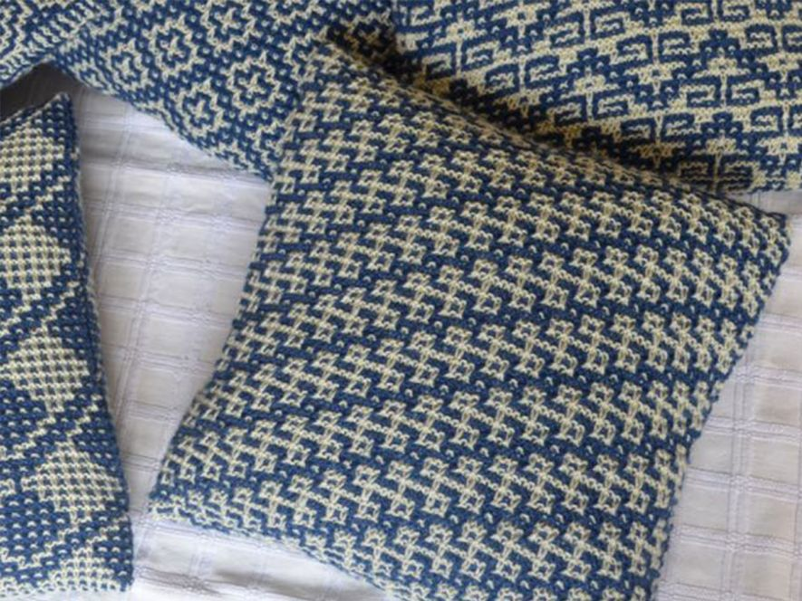 Cushion cover..Rangoli in Indigo/cream