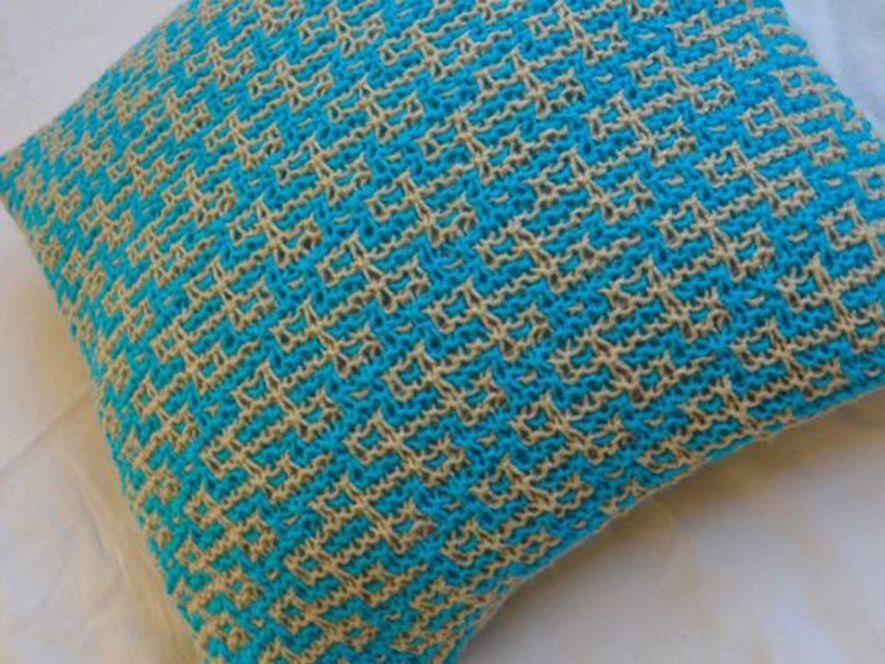Cushion cover..Rangoli in Bright blue/cream