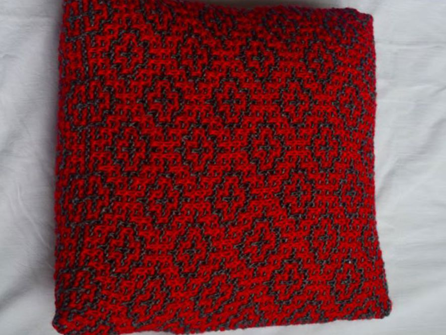 Cushion Cover…Mosaic Tiles in Grey/Red