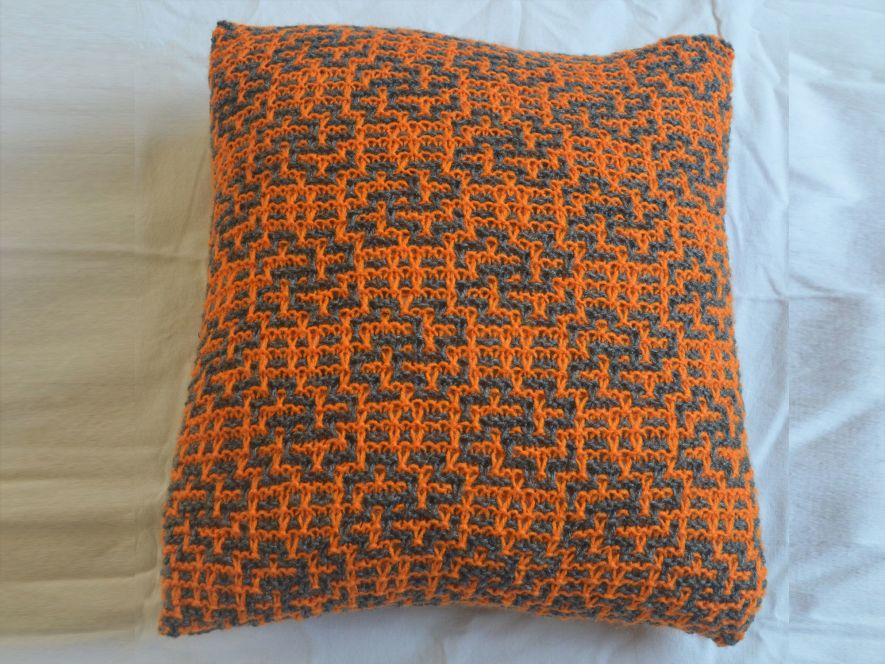 Cushion Cover…Twists and Turns in Grey/Orange