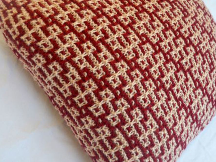Cushion Cover…Twists and Turns in Maroon/Cream