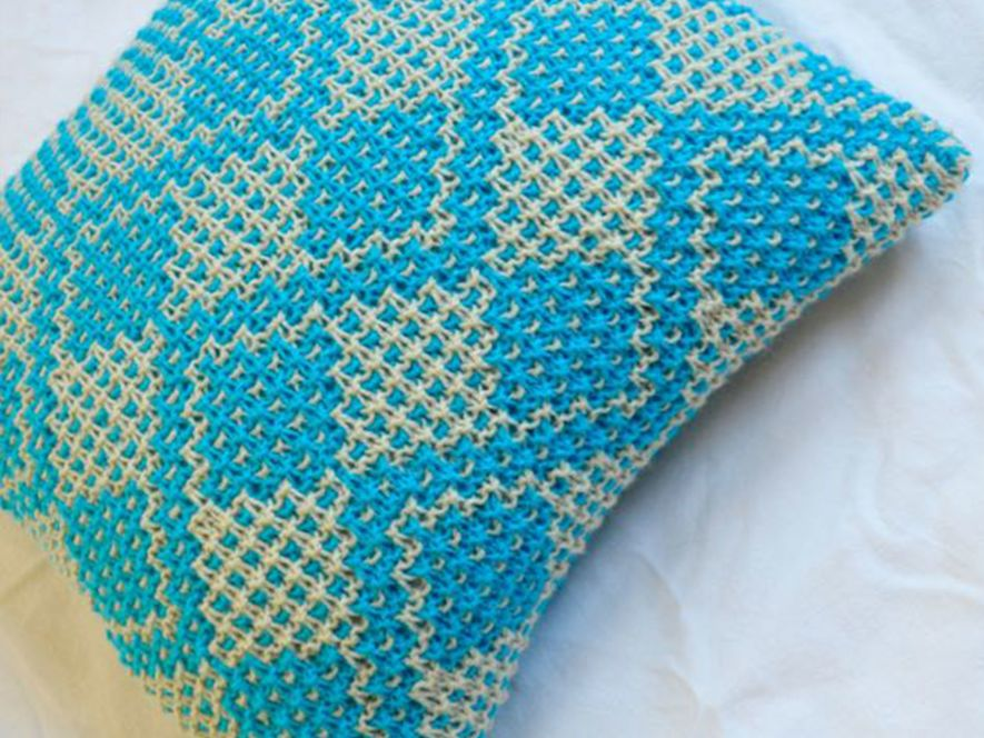 Cushion Cover..Fruit Trees in Bright Blue/Cream