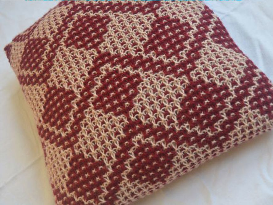 Cushion Cover..Fruit Trees in Maroon/Cream