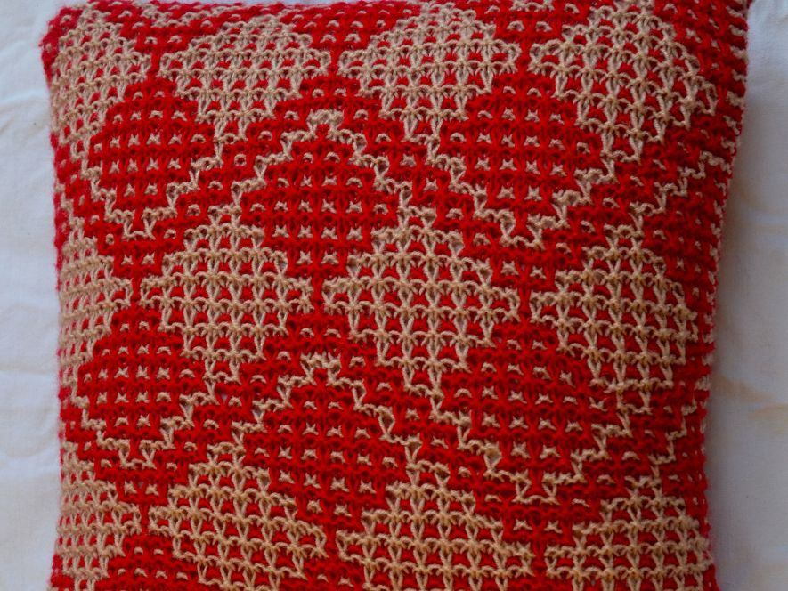 Cushion Cover..Fruit Trees in Red/Cream