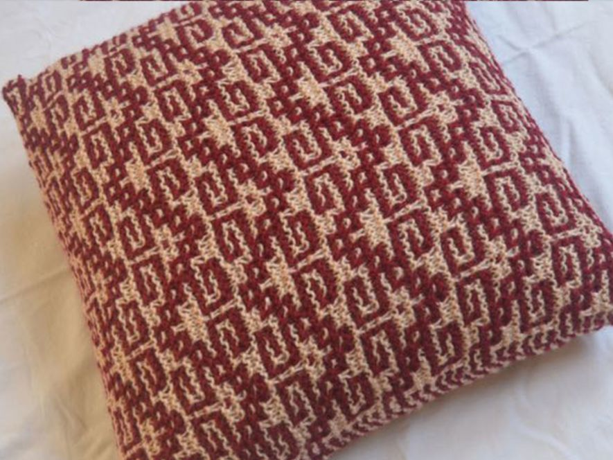 Cushion Cover..Keys to Solace in Maroon/Cream