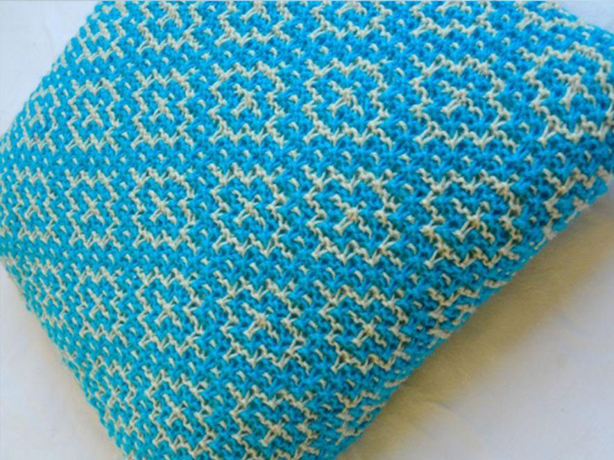 Cushion Cover..Mosaic Tiles in Bright Blue/Cream