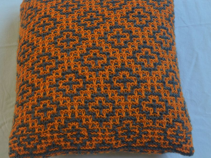 Cushion Cover..Mosaic Tiles in Grey/Orange