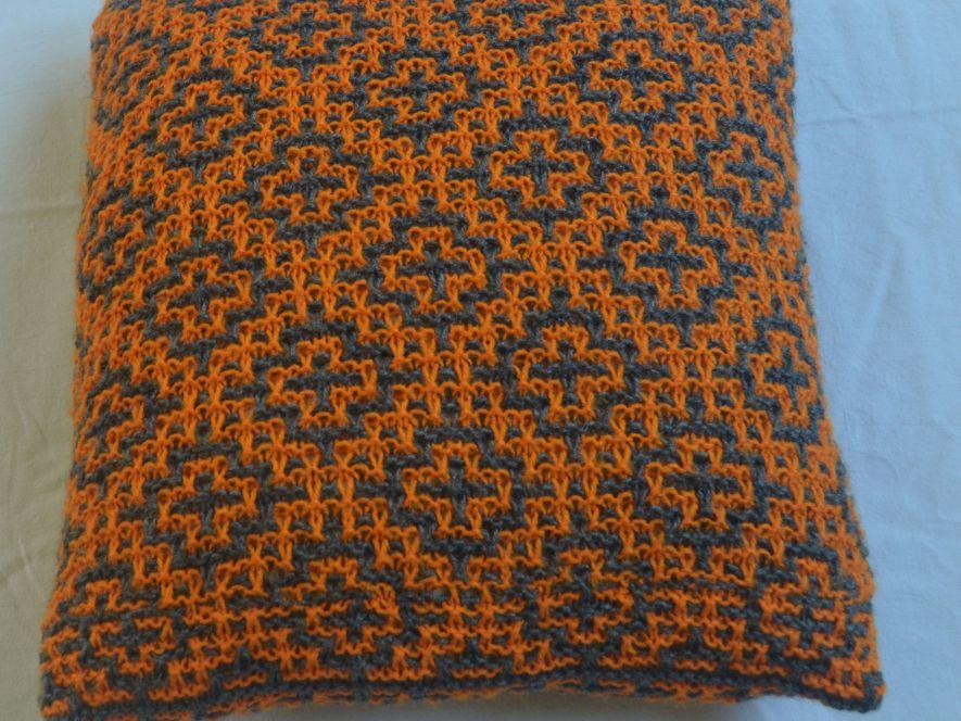 Cushion Cover..Mosaic Tiles in Grey/Orange