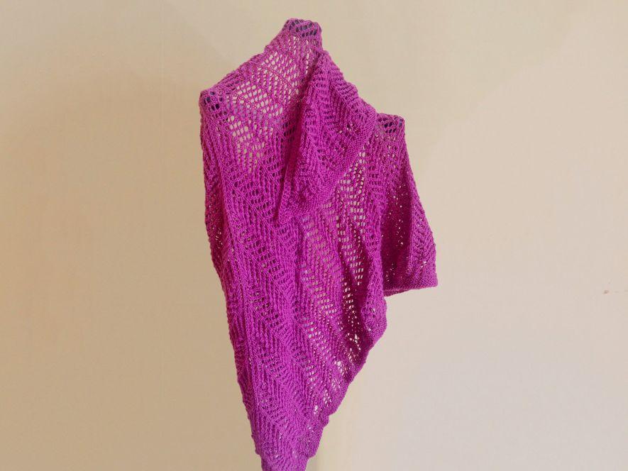 Triangular shawl..Lace Shadows in Bubblegum Pink