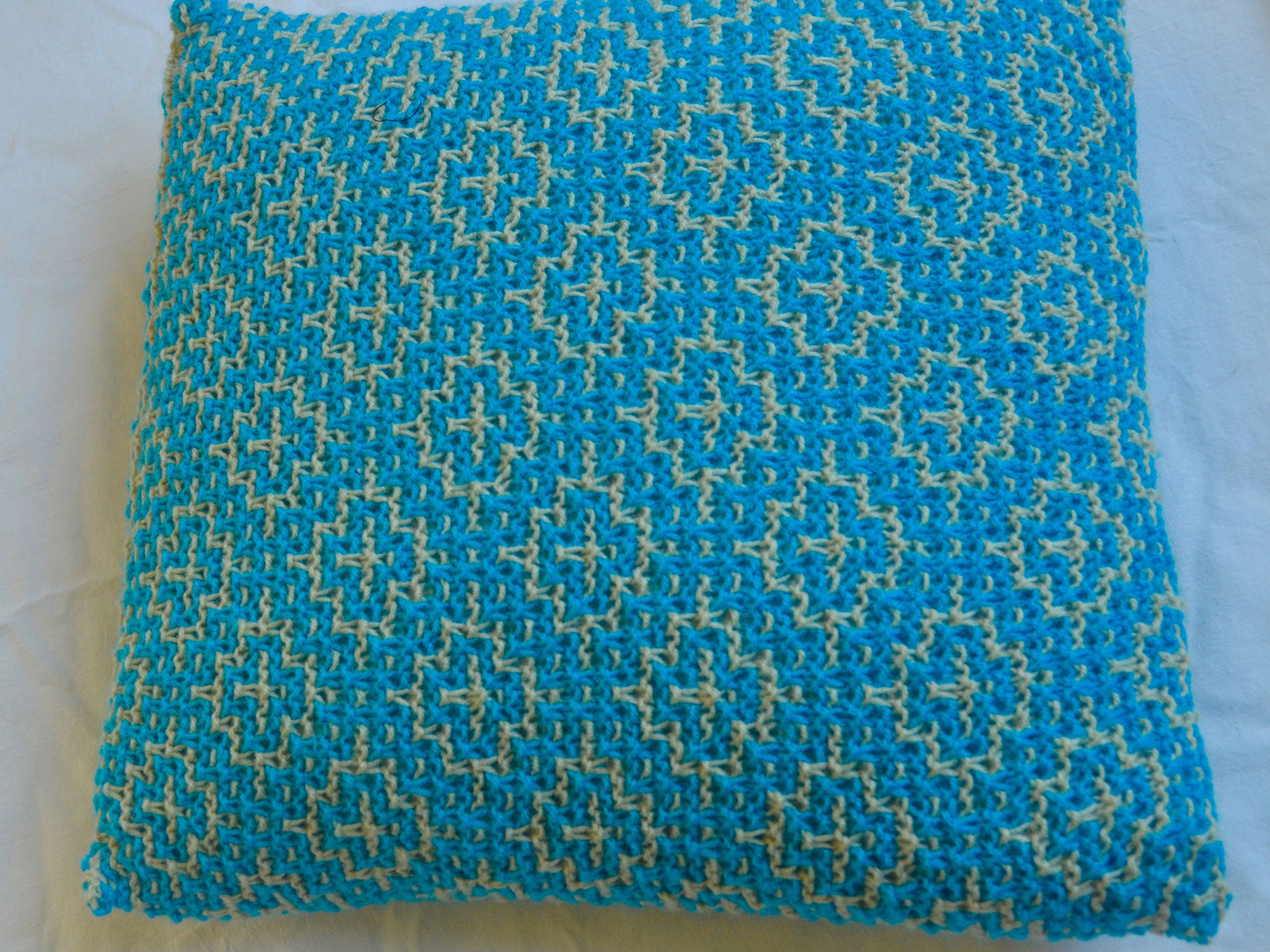 Cushion Cover..Mosaic Tiles in Bright Blue/Cream – Needles To Say More