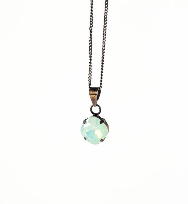 Collar Square Chrysolite opal, baño de oro viejo