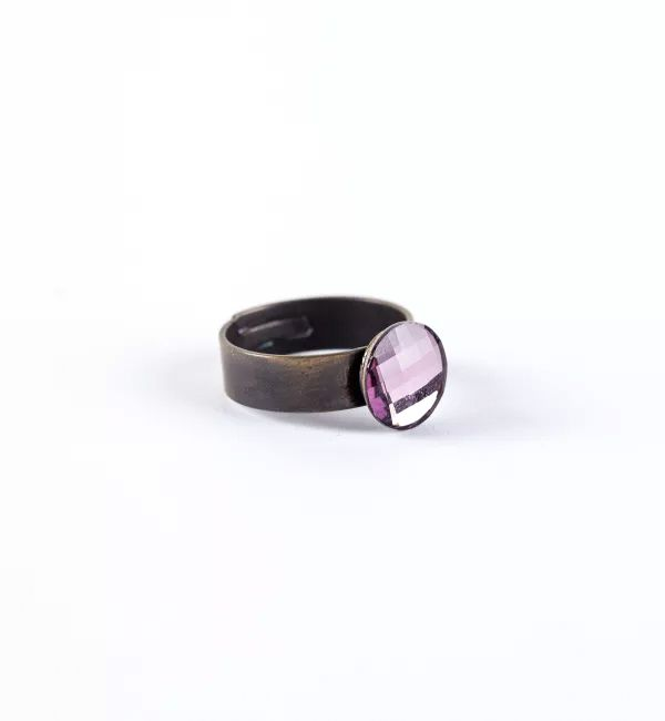 Anillo Circle Antique Pink, baño en oro viejo