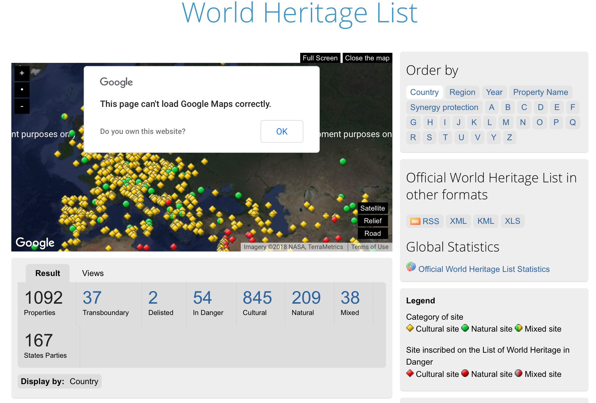 UNESCO World Heritage List Google Map, broken