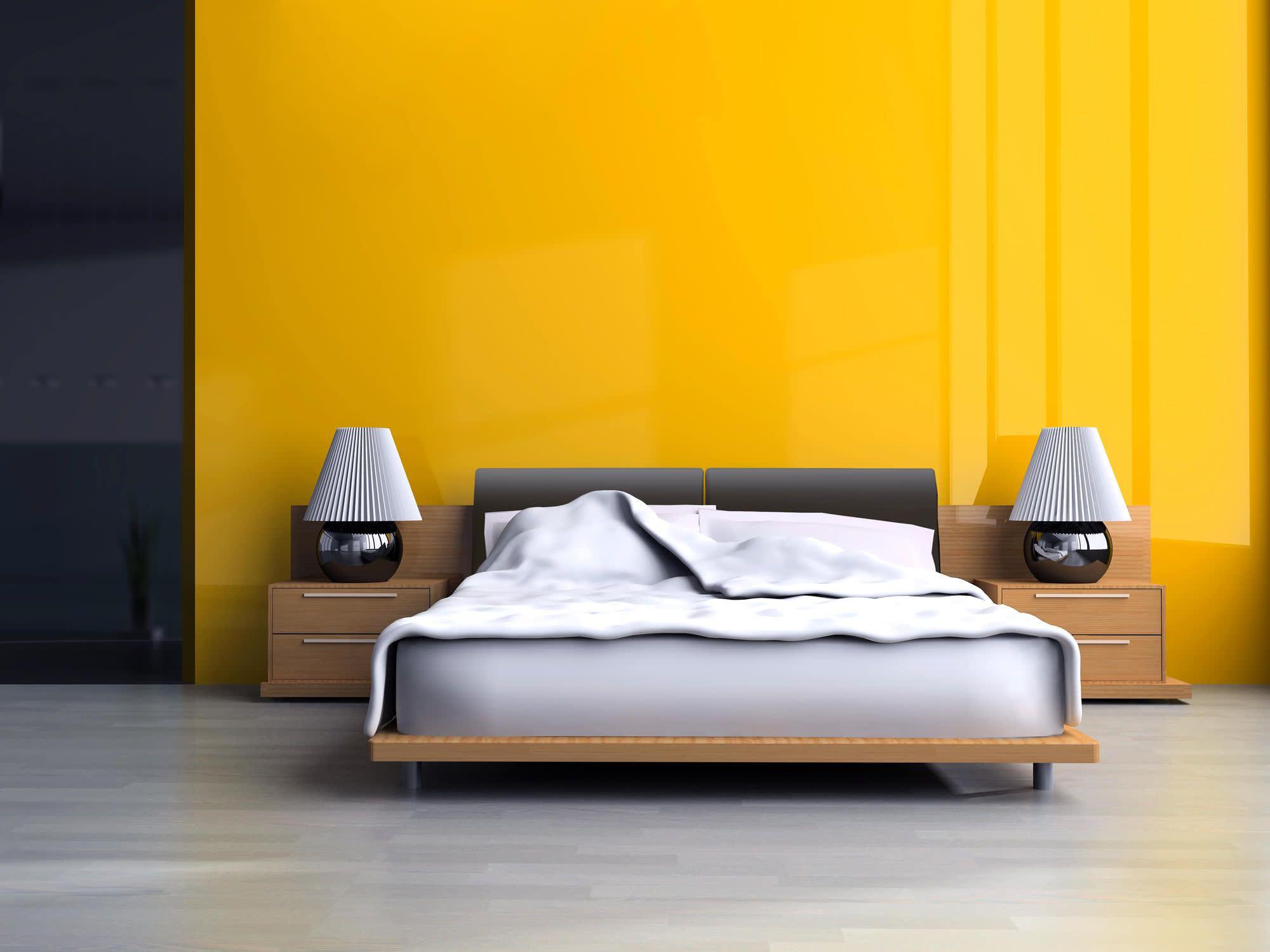 slaapkamer verven schilderen geel felle kleuren