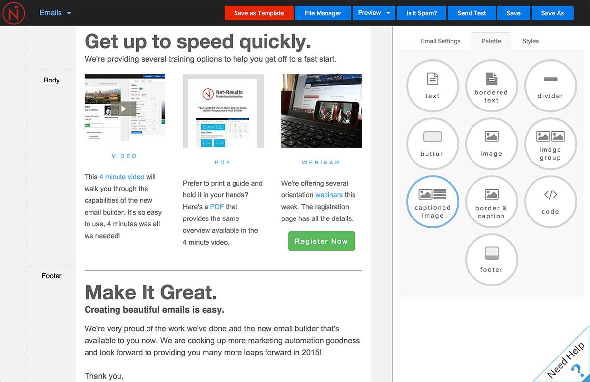 drag and drop email builder