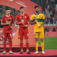 DOHA, QATAR - FEBRUARY 11: (L-R) Adidas bronze ball winner Joshua Kimmich of FC Bayern Muenchen, adidas golden ball winner Robert Lewandowski of FC Bayern Muenchen and adidas silver ball winner Andre-Pierre Gignac of Tigres UANL pose with their respective trophies during the presentation ceremony after the FIFA Club World Cup Qatar 2020 Final between FC Bayern Muenchen and Tigres UANL at the Education City Stadium on February 11, 2021 in Doha, Qatar. (Photo by David Ramos - FIFA/FIFA via Getty Images)