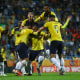 GDYNIA, POLAND - JUNE 14: Richard Mina of Ecuador celebrates with teammates after scoring his team's first goal during the 2019 FIFA U-20 World Cup Third Place Play-Off match between Italy and Ecuador at Gdynia Stadium on June 14, 2019 in Gdynia, Poland. (Photo by Lars Baron - FIFA/FIFA via Getty Images)