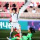 GOYANG, SOUTH KOREA - APRIL 08: Zhang Xin of China scores a team's first goal during the Tokyo Olympics Women's Football Asian Final Qualifier 1st leg match between South Korea and China at the Goyang Stadium on April 08, 2021 in Goyang, South Korea. (Photo by Chung Sung-Jun/Getty Images)