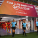 DOHA, QATAR - FEBRUARY 07: Assistant referee Neuza Back, match referee Edina Alves Batista, fourth official Abdelkader Zitouni and assistant referee Mariana De Almeida lead the teams out from the tunnel prior to the FIFA Club World Cup Qatar 2020 5th Place match between Ulsan Hyundai FC and Al Duhail SC at the Ahmad Bin Ali Stadium on February 07, 2021 in Doha, Qatar. (Photo by David Ramos - FIFA/FIFA via Getty Images)